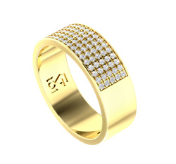 Solid 14k Gold Cigar Band Wide Pave Diamond Ring 80 Natural Diamonds 0.88 Tcw