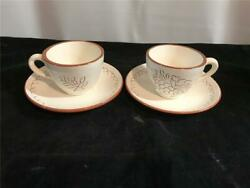 2 Stangl China Sgraffito Cups And Saucers