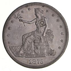 1875-cc Seated Liberty Silver Trade Dollar - Chop Mark 3709