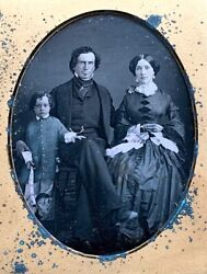 Exquisite Early Tinted 1/4 Plate Daguerreotype 1840s Family Child With Toy Horse