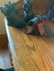 Vintage Set Of Three Cute Black Stone Westie Dog Statues With Free Shipping