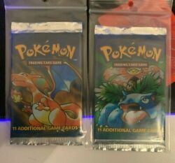Pokemon Unlimited Two Booster Pack Bundle Charizard And Venusaur Artworks