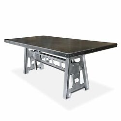Industrial Dining Table - Cast Iron Base - Adjustable Height Crank - Grey