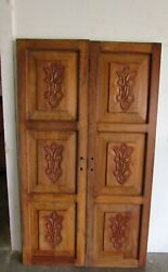 Antique Pair Mexican Old Doors 34-carved-primitive-rustic-38.5x65x2-beautiful