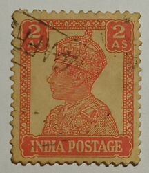 India Postage 2 As Indiaand039s Scott Year Of Issue 1941 Orange Color