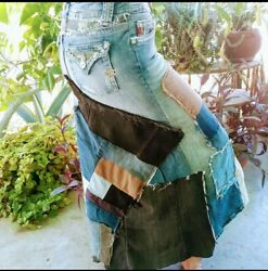 Reconstructed Vintage Patched Distressed Denim Jeans Skirt Miss Me Sz 27