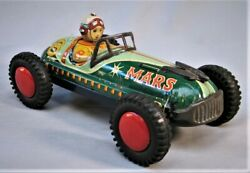 Vintage 1950's Mars 8 Tin Friction Race Car - Made In Japan By Shioji