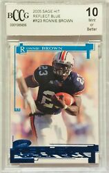 Ronnie Brown Rookie 2005 Sage Reflect Blue Foil Bccg Graded 10 Miami Dolphins Rc
