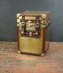 Antique Leather Occasional Side Table Trunk Solid - Brass And Leather