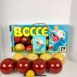 Vtg. Bocce Ball Set Lawn Bowling Game Made In Italy 8 Balls And Jack Wooded 1964