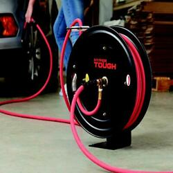 Air Hose Reel Steel Heavy Duty Retractable W/ 3/8in X 50ft Rubber Air Hose