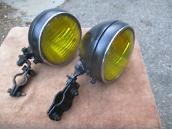 1935-1937 6 Inch Gm Style Deluxe Guide Script Fog Lights With Mounting Brackets