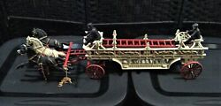 Vintage Cast Iron Horse Drawn Hook And Ladder Fire Truck 30l X 8h Heavy