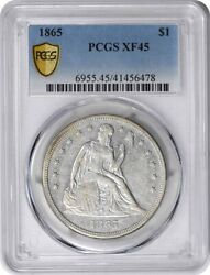 1865 Liberty Seated Silver Dollar Ef45 Pcgs