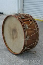 Antique Late 19th Century 29 Marching Band Bass Drum Topsham Maine Local Band