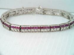 Antique Art Deco Sterling Silver Ruby And White Stone Tennis Bracelet
