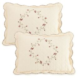 Better Homes And Gardens Hannalore 2 Quilted Standard Pillow Shams Set Embroidered