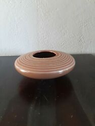 Vintage Haeger Floral Large Red Clay Pottery Bowl / Short Vase Made In Usa