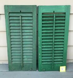 Antique Wood Shutters Louvered Salvage Shabby Victorian Farmhouse Windows 33