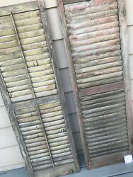 Antique Wood Shutters Louvered Salvage Shabby Victorian Farmhouse Windows 56