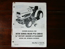 Haban Mtm Series Rear Pto Drive 54 Rotary Mower Attachment Manual Mtm54a And 54c