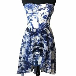 French Connection Woodblock Wonder Strapless Dress Sz 4
