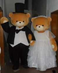 2pcs Teddy Bear Mascot Costume Suit Cosplay Party Dress Outfit Halloween Adults