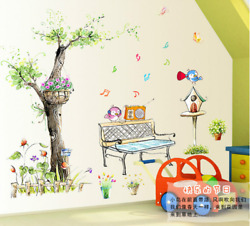 Bird and Tree Cartoon Wall Stickers for Kids Children Room Bird and Tree Decals