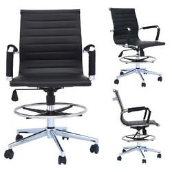 2xhome Office Drafting Chair Ribbed Mid Back With Wheels And Arms For Home Offic