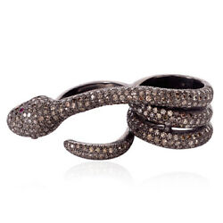 Pave Diamond Snake Design Two Finger Ring 925 Silver Halloween Gift Jewelry