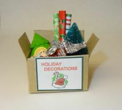 Dollhouse Box Of Christmas Decorations Angel Trees Doll House Miniatures