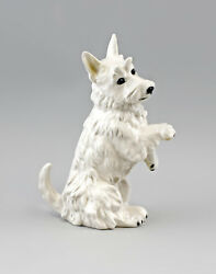 9941616 Ens Porcelain Figurine Terrier Seated Bright Dog 5 1/2x3 1/2x9 3/8in