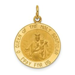 14k Yellow Gold Solid Small Queen Of Holy Scapular Reversible Medal 2.63 Gram