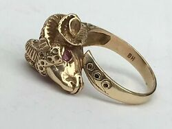 Superb, Rare, Antique Victorian 9 Ct Gold Ram Ring With Fine Rubies