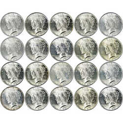 Peace Dollar 20 Piece Roll 1922 And 1923 Bu Uncirculated Mint State 90 Silver 1