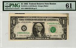 1985 1 Boston Frn Cut From Bep Issued Sheet Foreign Substance Error Pmg Ms61