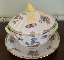Herend Queen Victoria Green Border Soup Tureen With Platter 1022-0-03 And 1151-0-0