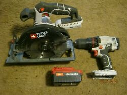 Porter-cable Pcc601 20v Lithium Ion 1/2 Drill And Pcc660 6-1/2 Circular Saw