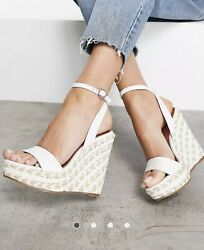 White Womenand039s Elastic Ankle Strap Open Toe Platform Wedge Sandals