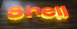 Shell Plastic Sign Letters Gas And Oil Collectable Man Cave Garage Led