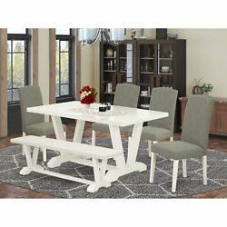 East West Furniture 6-piece Table Dining Set-dark Shitake Linen Fabric Seat A...