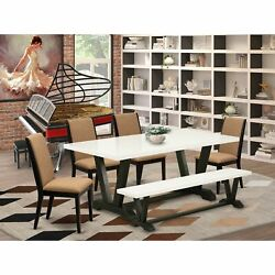 East West Furniture V627la147-6 6-piece Gorgeous Modern Dining Table Set An O...