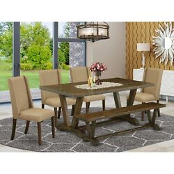 East West Furniture 6-piece Table Dining Set-dark Khaki Linen Fabric Seat And...