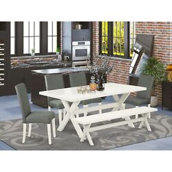 East West Furniture 6-piece Wooden Dining Table Set-gray Smoke Linen Fabric S...