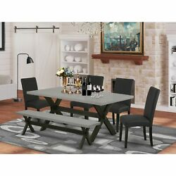 East West Furniture 6-pc Dining -black Linen Fabric Seat And High Stylist Bac...
