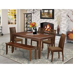Duip6-mah-c 6pc Dining Set Includes A Rectangle Dining Table Four Linen Seat...