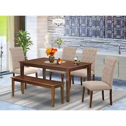 Cabr6-mah-04 6pc Dining Set Includes A Rectangle Dinette Table And Four Parso...
