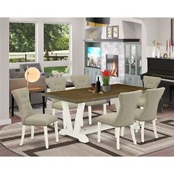 East West Furniture 7-pc Dinette Room Set- 6 Upholstered Dining Chairs With D...