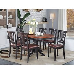 Avon7-blk-lc 7 Pc Dining Room Set-oval Table With Leaf And 6 Dining Chairs
