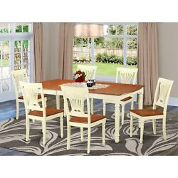Dopl7-whi-w 7 Pc Dining Room Set For 6-table And 6 Dining Chairs